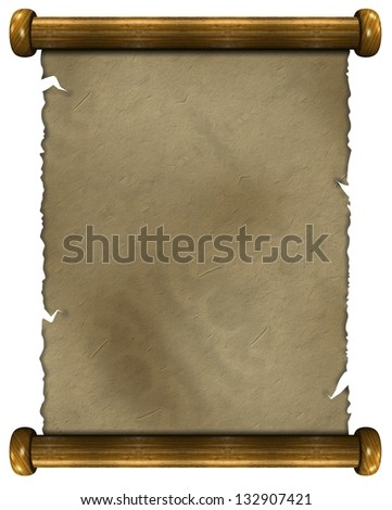 3d illustration of an old paper scroll / Old paper - stock photo