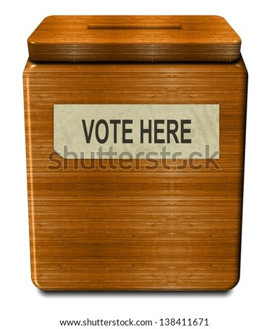 3d illustration of an old wooden voting box / Old voting box - stock photo