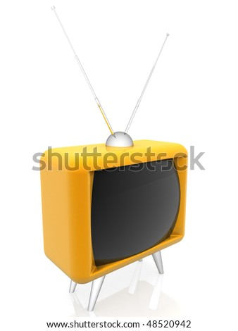 3d illustration of an old yellow tv isolated over a white background