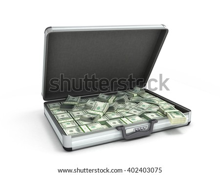 3d illustration of an open metal case with black handle full packs of dollar bills isolated on white background - stock photo