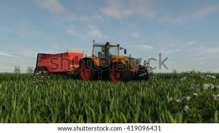 3d illustration of an orange tractor with fertilizer - stock photo