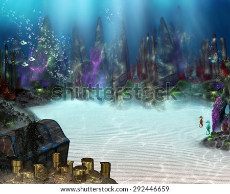3D illustration of an underwater scene with Pirate Treasure, sea plants and creatures bubbles and ocean floor.  Perfect for your renders or photo manipulations.  - stock photo