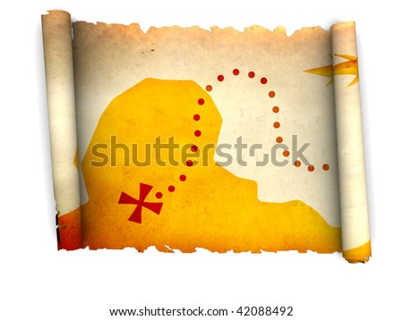 3d illustration of ancient treasure map scroll, over white background - stock photo