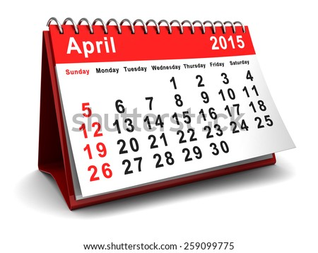 3d illustration of april 2015 calendar page - stock photo