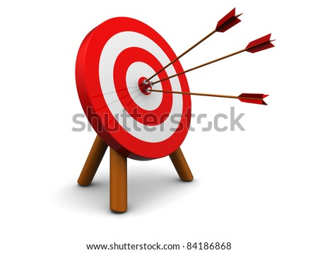 3d illustration of archery target hit with three arrows, over white background - stock photo