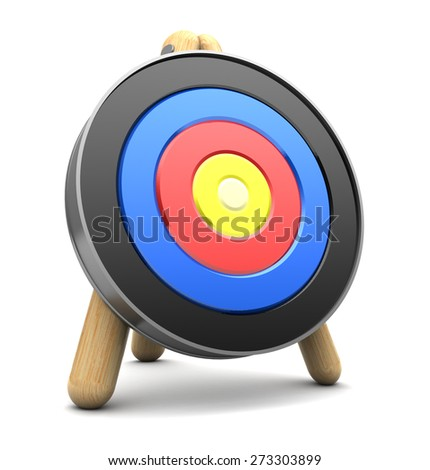 3d illustration of archery target over white background - stock photo