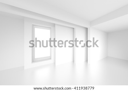 3d Illustration of Architecture Background. Abstract Minimal Design. White Empty Room