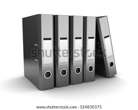 3d illustration of archive folders over white background - stock photo