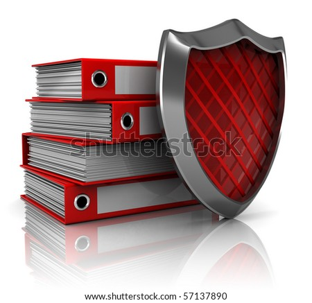 3d illustration of archive folders protected by shield - stock photo