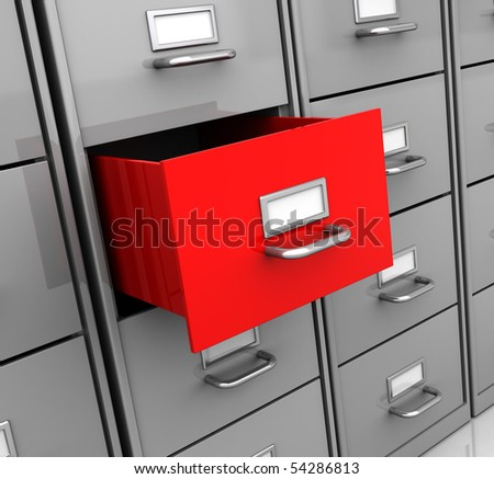 3d illustration of archive shelf, angle perspective view - stock photo