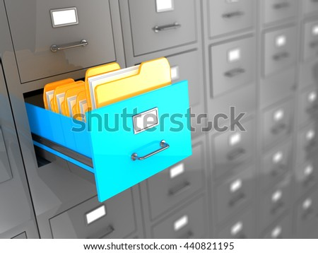 3d illustration of archive with one box opened