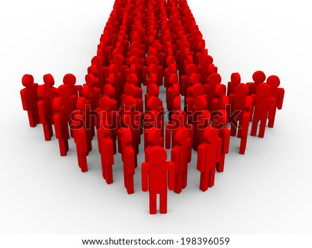 3d illustration of arrow created with man human symbols. Concept of leadership - stock photo