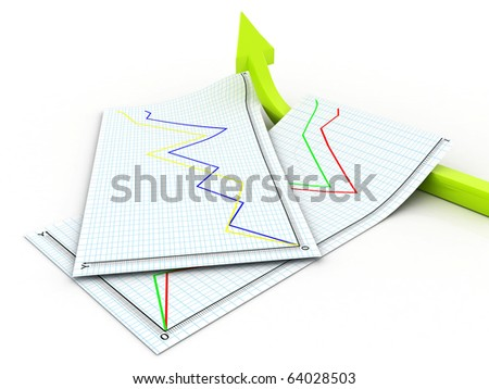 3d illustration of arrow with graph papers