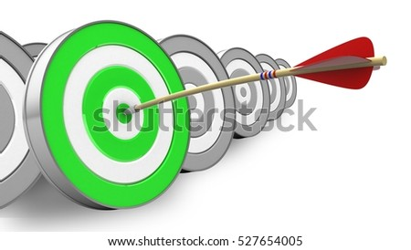 3d illustration of arrow with green target over white with targets background