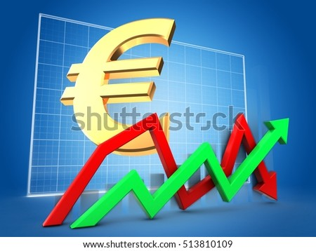 3d illustration of arrows over blue grid background with euro sign