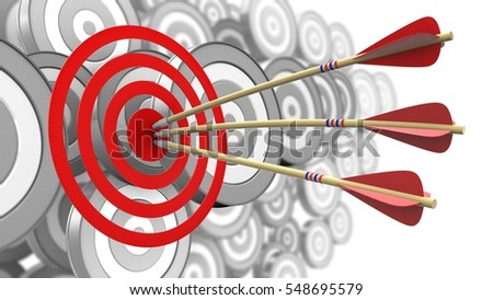 3d illustration of arrows with circles target over many targets background