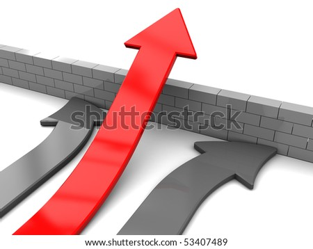 3d illustration of arrows with red leader, right solution concept - stock photo