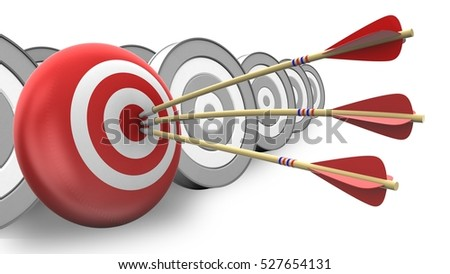3d illustration of arrows with target sphere over white with targets background