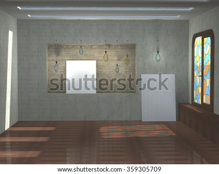 3D illustration of art interior with stained-glass window.  Light on the floor. Front view with lamps and white canvases without images. Mock up.