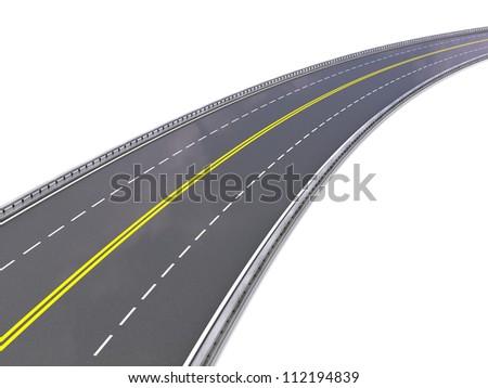 3d illustration of asphalt road - stock photo