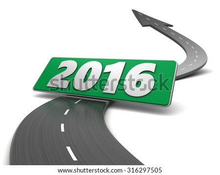 3d illustration of asphalt road and 2016 sign - stock photo