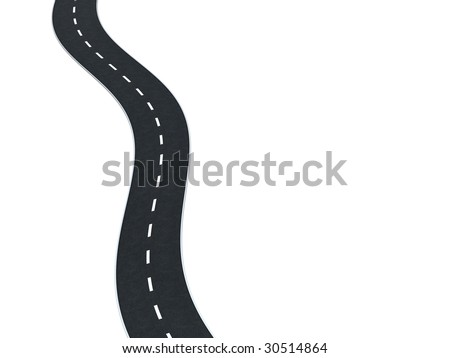 3d illustration of asphalt road isolated on white, top view
