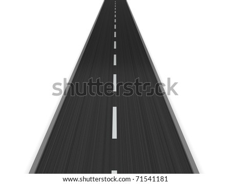 3d illustration of asphalt road isolated over white background - stock photo