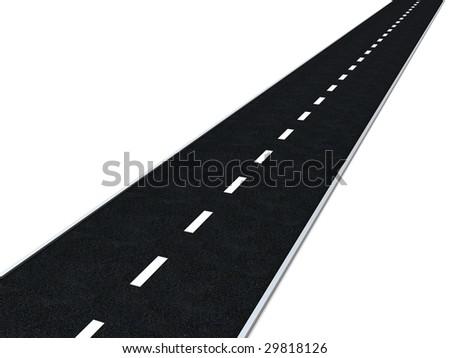 3d illustration of asphalt road over white background - stock photo