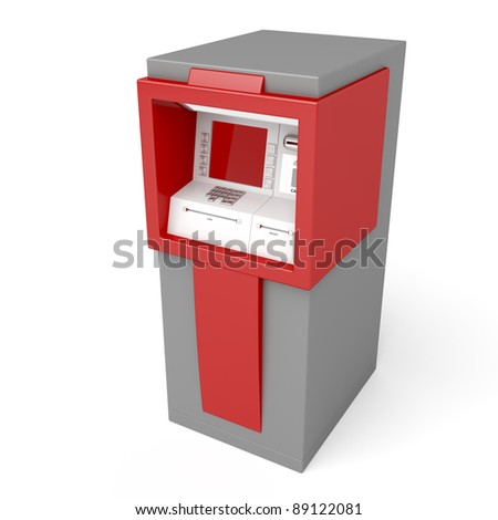 3d illustration of ATM on white background - stock photo