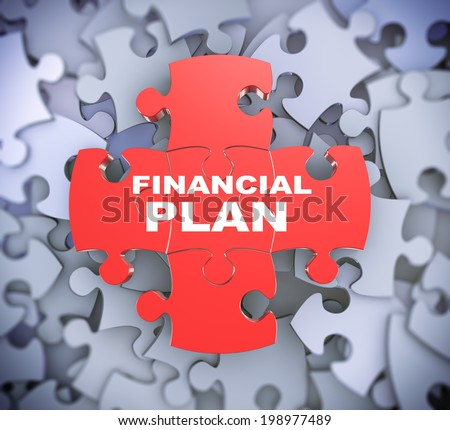 3d illustration of attached jigsaw puzzle pieces phrase financial plan presentation on background of heap of puzzle pieces - stock photo