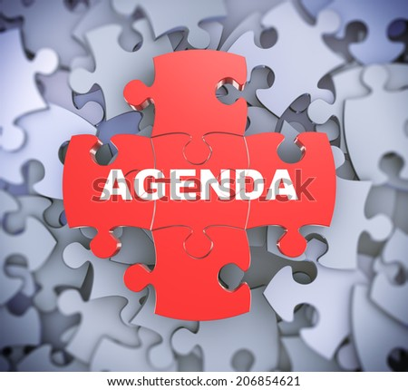 3d illustration of attached jigsaw puzzle pieces word agenda presentation on background of heap of puzzle pieces - stock photo