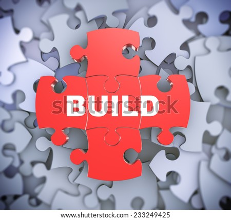 3d illustration of attached jigsaw puzzle pieces word build presentation on background of heap of puzzle pieces - stock photo