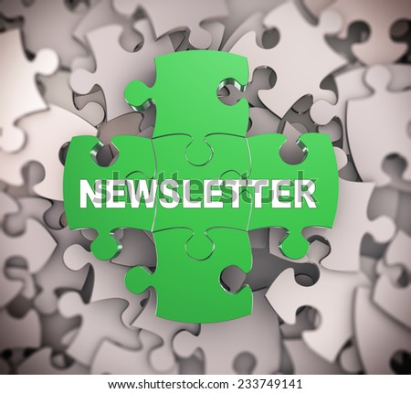 3d illustration of attached jigsaw puzzle pieces word newsletter presentation on background of heap of puzzle pieces - stock photo