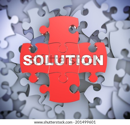 3d illustration of attached jigsaw puzzle pieces word solution presentation on background of heap of puzzle pieces - stock photo