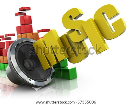 3d illustration of audio speaker and music spectrum and text 'music' - stock photo