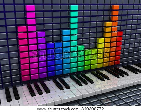 3d illustration of audio spectrum and piano keys, music recording concept - stock photo