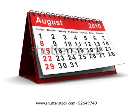 3d illustration of august 2010 calendar over white background - stock photo