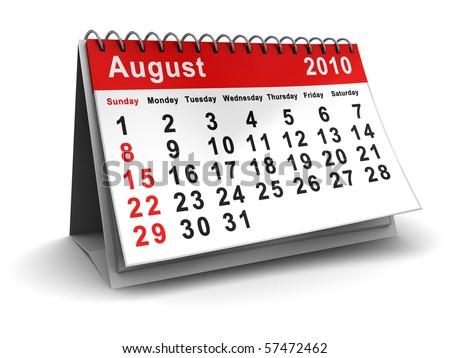 3d illustration of august 2010 calendar, over white background - stock photo