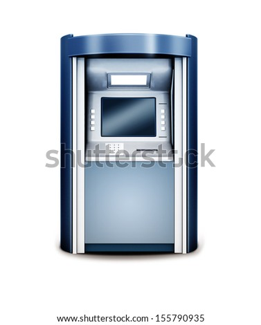 3d illustration of Automated teller machine isolated on white - stock photo