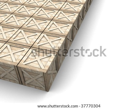 3d illustration of background with crates at left side - stock photo
