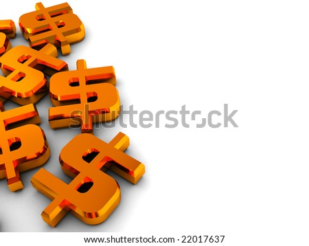 3d illustration of background with dollar signs on left side - stock photo