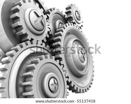 3d illustration of background with gear wheels at left side - stock photo