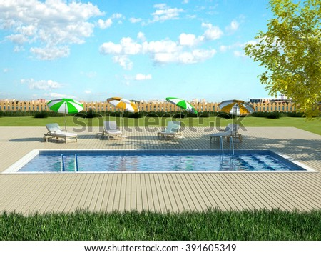 3d illustration of backyard with pool and sun loungers - stock photo