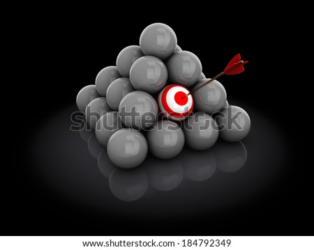 3d illustration of ball with arrow, target selection concept - stock photo