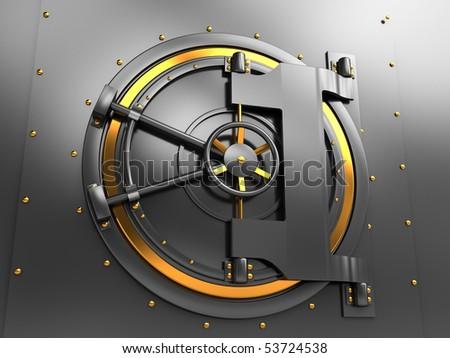 3d illustration of bank vault door, dark gray and golden colors - stock photo
