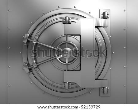 3d illustration of bank vault door, front view - stock photo