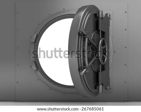 3d illustration of bank vaulted door, steel material - stock photo