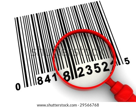 3d illustration of bar-code scanning, with magnify glass