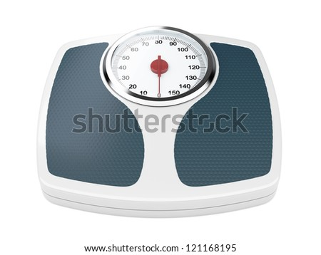 3d illustration of bathroom weight scale on white background - stock photo