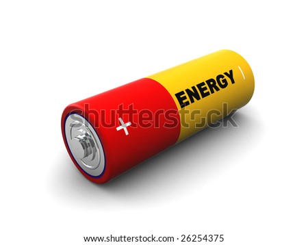 3d illustration of battery isolated over white background - stock photo